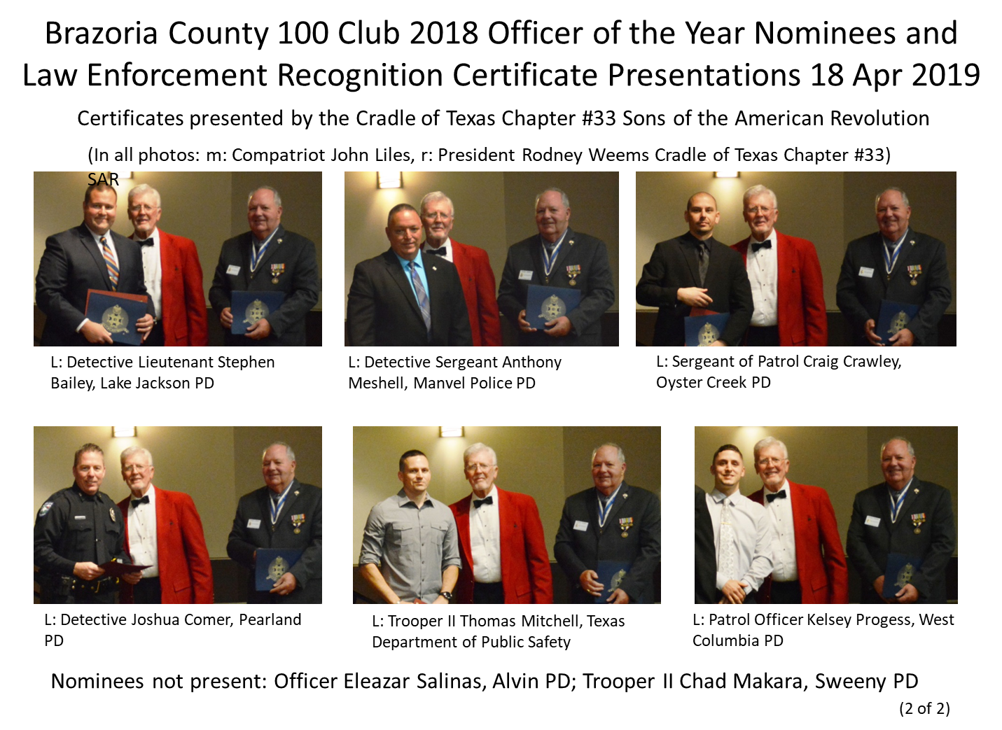 Brazoria 100 Club 2018 Officer of the Year Nominees 2